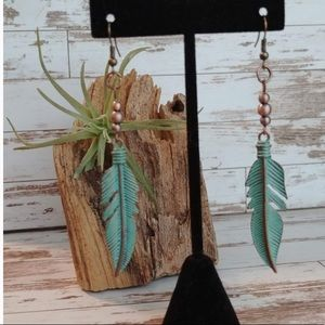 Southwestern Feather copper & turquoise Earrings